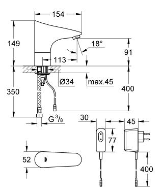 GROHE Europlus E Infra Red Electronic Basin Mixer 1 2 Without Mixing D
