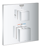 Grohtherm Cube Thermostatic shower mixer for 2 outlets with integrated shut off/diverter valve 24154 000