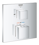 Grohtherm Cube Safety bath tub mixer for 2 outlets with integrated shut off/diverter valve 24155 000