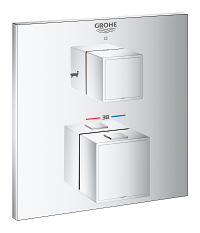 Grohtherm Cube Thermostatic bath tub mixer for 2 outlets with integrated shut off/diverter valve 24155000