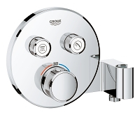 Grohtherm SmartControl Thermostat for concealed installation with  2 valves and integrated shower holder 29120000