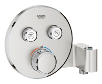 Grohtherm SmartControl Thermostat for concealed installation with  2 valves and integrated shower holder 29120DC0
