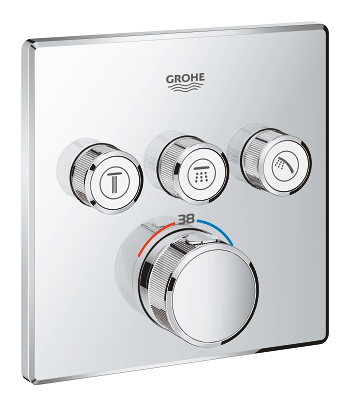 grohe grohtherm smartcontrol thermostat for concealed installation with 3 valves 29126 000. Black Bedroom Furniture Sets. Home Design Ideas